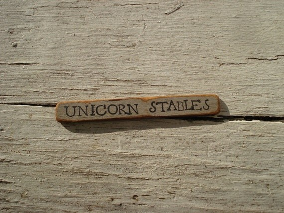 Little Sign- Unicorn Stables- Dollhouse Miniatures