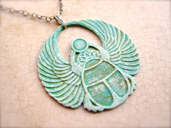 Scarab Necklace - Sterling Silver - Egyptian - Gift Under 50 - Green - Turquoise - Elegant