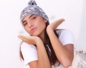 Winter pompom hat, knitted  ribbed beanie, grey gray white ski cap, unisex, woman, teens, man