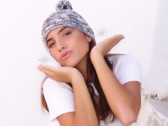 Winter pompom hat, knitted  ribbed beanie, grey gray white ski cap, unisex, woman, teens, man