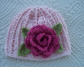 Girls light pink cotton crocheted beanie hat with hot pink rose detail