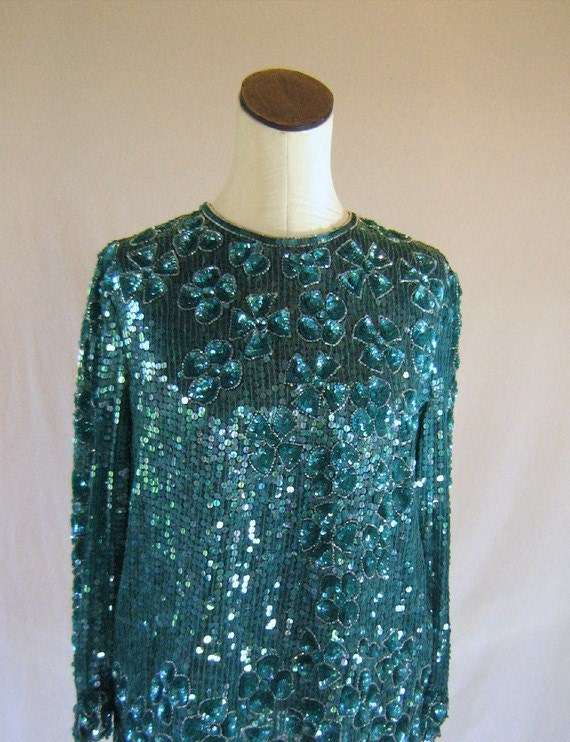 Teal Floral Long Sleeve Sequin Top Slouchy by RetroFascination