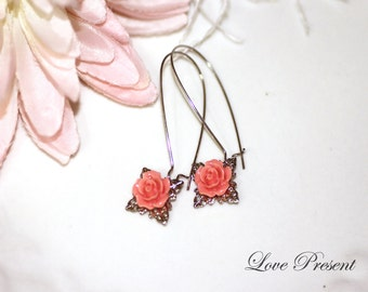 Bridesmaids Earrings - Cutie Petite Rose Kidney Earrings with Filigree - Choose your color