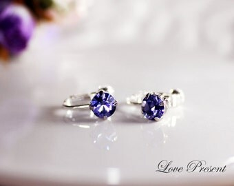 Bridesmaids Earrings - Classic Sparkly Swarovski Crystal Screw Clip on Earrings - Choose your color