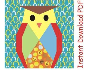 Wise Owl Halloween quilt paper pieced PDF Pattern INSTANT DOWNLOAD