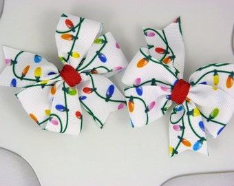 Christmas lights pigtail bows - set of two