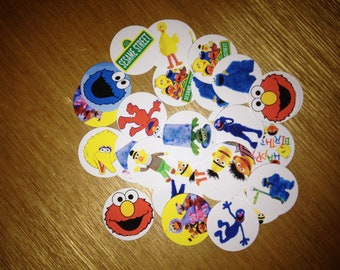 """40 Precut 1"""" SESAME STREET Circle Images - For Bottle Caps, Hair bows, Buttons, Stickers, Magnets, Jewelry, and Scrapbooking"""