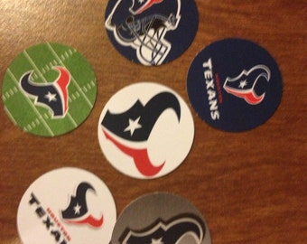 """50 Precut 1""""  Houston Texans Circle Images - For Bottle Caps, Hair bows, Buttons, Stickers, Magnets, Jewelry, and Scrapbooking"""