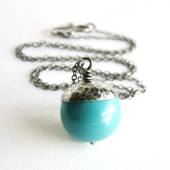 Turquoise Bead Necklace, Silver Turquoise Pendant, Rustic Necklace, Hammered Silver Pendant, Organic Necklace