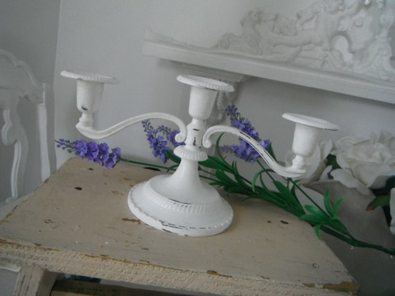 shabby chic candelabra painted candle holder French country cottage decor tapered candl holder holiday decor