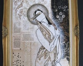 """large mixed media painting.  abstract modern icon.  36""""x48"""".  our lady of no fears."""