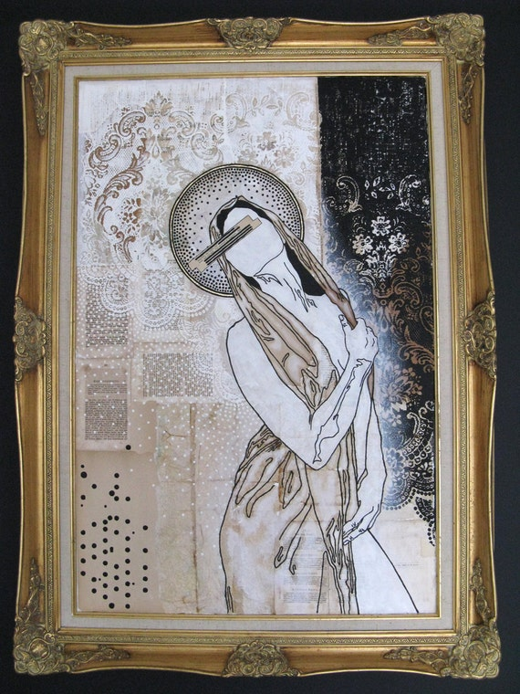 "large mixed media painting.  abstract modern icon.  36""x48"".  our lady of no fears."