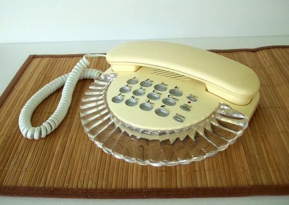 vintage telephone clamshell design cream pushbutton desk phone by Columbia vintage home decor