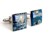 Computer Circuit Board Cufflinks — Blue Domed — Men's Accessory for Geek Groomsmen, Fathers, and Graduates