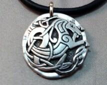 Pewter Detailed Celtic Seahorse Medallion on Black Leather Necklace, Elegant Horse Necklace, Equestrian Necklace