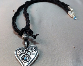 Pewter Running Horses Pendant Heart Necklace, Horse Heart Pendant on Black Leather Braided Necklace