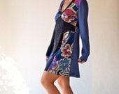 Upcycled women dresses/Eco tunics/patchwork/mixed fabrics short dresses