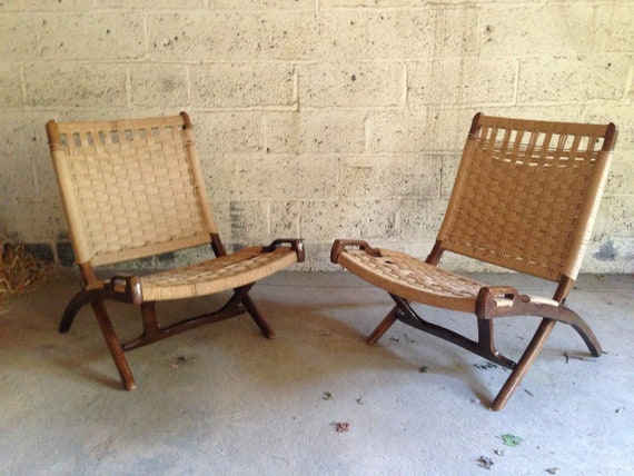Pair Of Hans Wegner Style Folding Rope Chairs Danish Mid