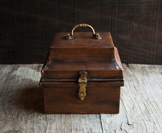 Brown Metal Cash Box - Vintage Storage