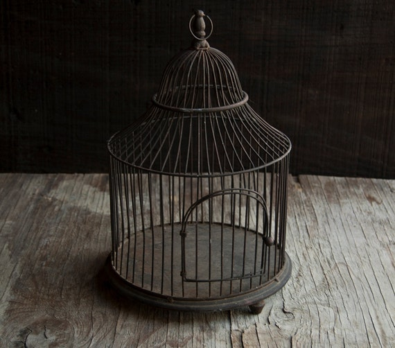 Rustic Wire Bird Cage- Vintage Metal