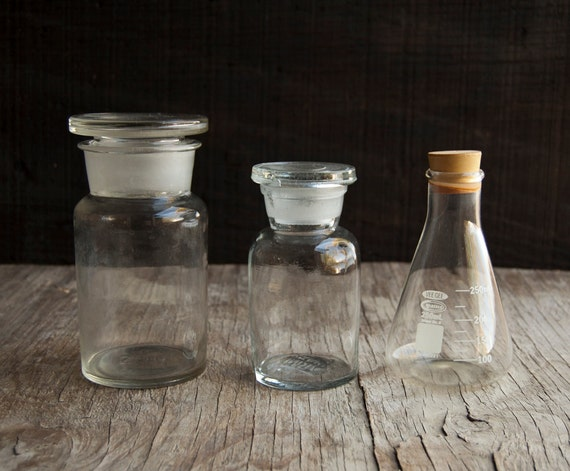 Science Lab Bottle Collection - Glass Stopper Tops