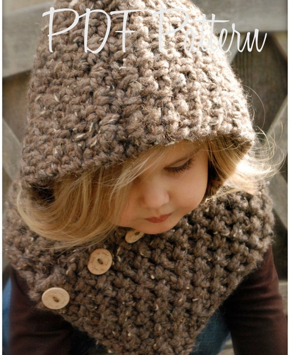 Free Crochet Pattern Toddler Hooded Cowl : Crochet PATTERN-The Hampton Hood Toddler Child Adult sizes