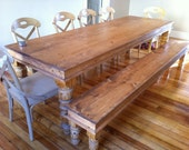 Handcrafted Solid Pine Natural Finish Dining Table Hand Carved Legs With Matching Bench