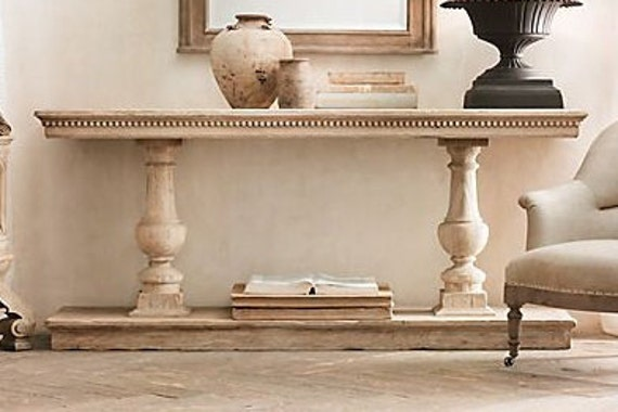 Console Table Handcrafted Unfinished Balustrade 50 x16 x 30 tall