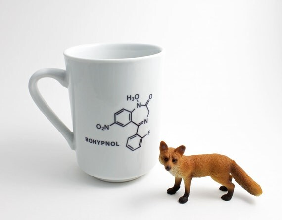 Gag Gift - Rohypnol Chemistry Molecule Coffee Cup in Black and White