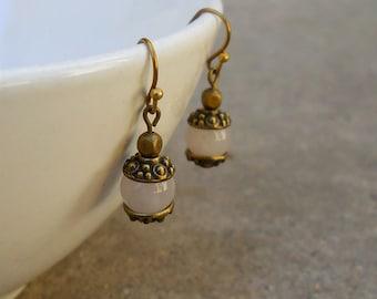healing and comfort, genuine rose quartz gemstone earrings