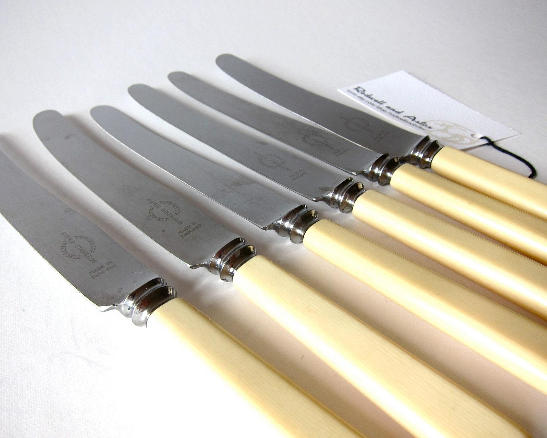 set 6 vintage 1950s viners ivorine handle dinner knives
