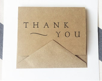 Thank You -- Modern Elegance -- Set of Cards & Envelopes in Kraft Brown -- CHOOSE YOUR QUANTITY