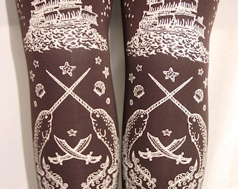 S M Pirate Tights Printed White on Chocolate Brown Small Medium Tattoo Octopus Narwhal Squid Steampunk Lolita