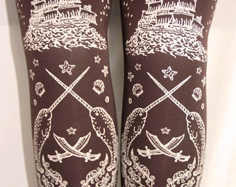 Pirate Tights Printed White on Chocolate Brown Small Medium Tattoo Octopus Narwhal Squid Steampunk Lolita