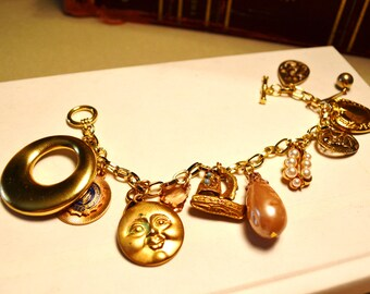Plus Size Upcycled Charm Bracelet with Vintage Charms.