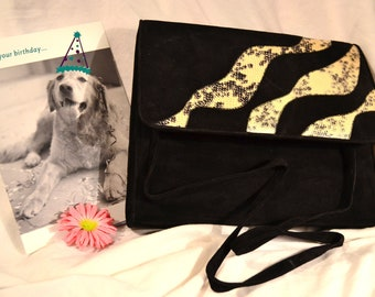 Suede Vintage Purse with Animal Prints