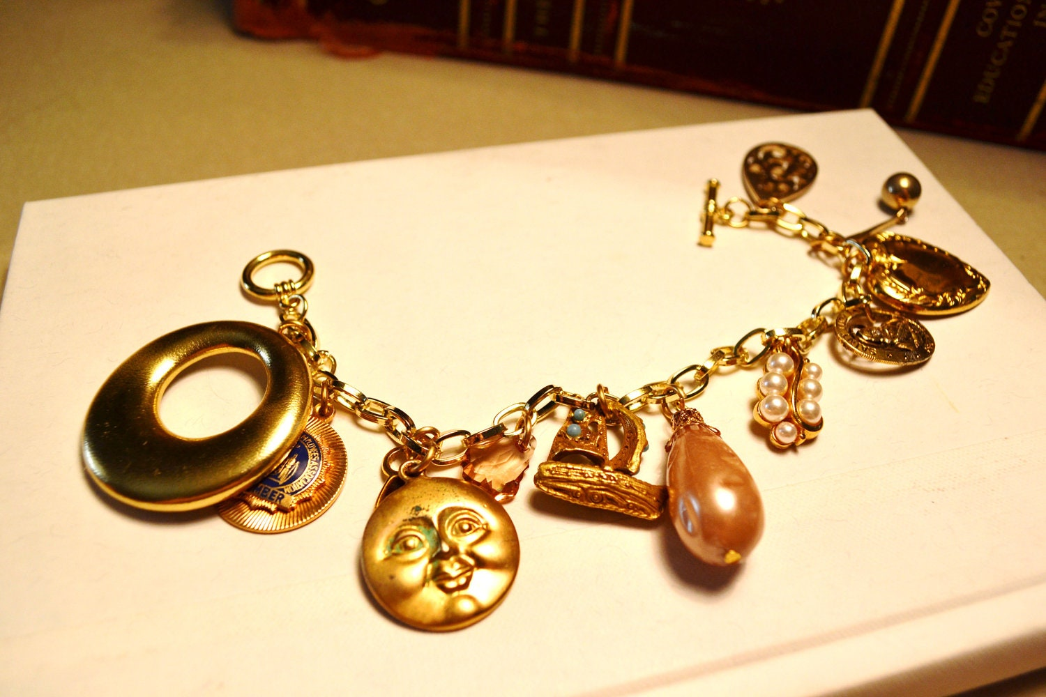 Plus size vintage upcycled charm bracelet with vintage for Plus size jewelry bracelets