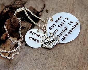 Pirate Jewelry Mermaid Necklace, Captain Necklace, Mermaid Charm, pirate Code Quote, Pirate Necklace , Ship, Gift For Sailor