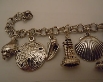 Lighthouse Shell Collector Seashore Charm Bracelet Sterling Silver