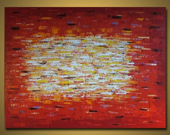 Red Huge Painting - Original Large Abstract Modern Art Oil Painting - Michel Campeau - MADE-TO-ORDER - 48''x60""
