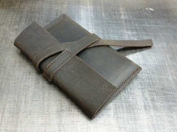 Waxed nubuck wallet Phone wallet  pouche in waxed nubuck Iphone case