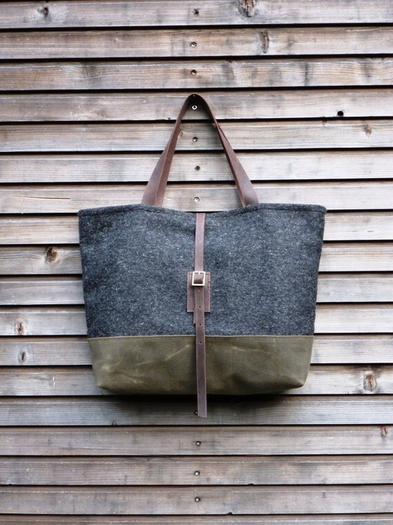 Wool Tote Bag With Waxed Leather Handles And Waxed Canvas