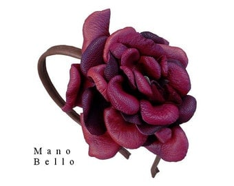SALE Boho Leather Flower Headband Solo Wine Burgundy &  Saddle Tan Leather Covered Hairband in stock
