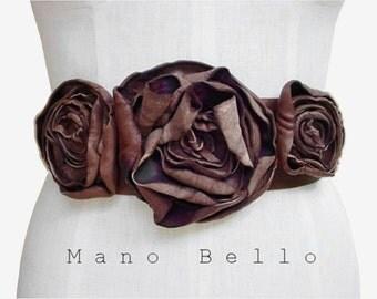 RUSTIC LEATHER FLOWER Belt Wedding Dress Belt Boho Wedding Soft Leather Flower Belt Harness Distressed Brown Leather Rustic Wedding Custom