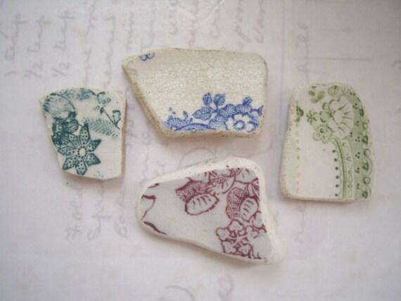 Scottish Flower Print Pottery, Beach Pottery SP975