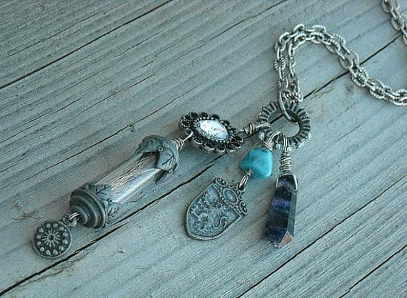 Memento Mori, Bottle Necklace, Vial Necklace, Charm Necklace, Found Objects, Steampunk, Amethyst, Turquoise,