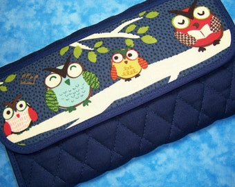 Women Wallet Clutch Wallet Owl Large Wallet Fabric Wallet Vegan Trifold Wallet Cute Wallet Quilted Ladies Wallet Organizer Checkbook Velcro