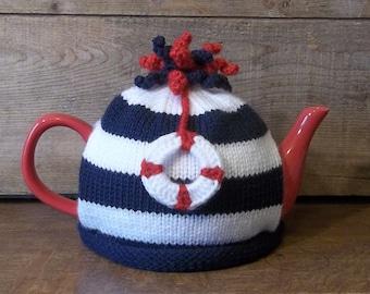 Tea Cozy, Nautical Knit Tea Cosy, Knit Sailor Teapot Cozy with Life-ring, Kitchen Decor, Retro Tea Cosy, Navy and White Tea Cosy,