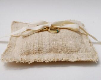 Ring Bearer Pillow - Eco Friendly Wedding Ring Pillow - Handwoven Hemp Linen - Handmade Wedding