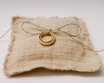 Boho Wedding - Eco Friendly Wedding - Ring Bearer Pillow - Rustic Handwoven Hemp Linen